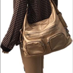 SORIAL Metallic Gold Leather Zippered Shoulder Bag